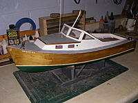 Name: MB 1.jpg Views: 173 Size: 230.1 KB Description: Hull was originally painted yellow; I decided to strip the yellow off and refinish with some Minwax stain varnish over the balsa planking.
