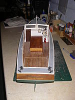 Name: MB 2.jpg Views: 160 Size: 121.1 KB Description: Stern view, main deck is painted a flat ligt gray.  Transom is a piece of cherry to match engine box.