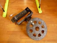 Name: f090522172158_0640.jpg Views: 395 Size: 38.1 KB Description: Camera carrier plate, L-bracket from a ply book shelf carrier, and camera mount now with direct drive tilt and control rod roll servo.