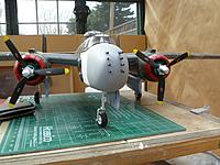 Name: P1020629.jpg Views: 187 Size: 214.0 KB Description: Front view of strafer nose with machine guns temporarily installed. I primered the nose with gray paint.