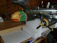Name: P1020709.jpg Views: 158 Size: 170.3 KB Description: The machine guns are simply pushed into a foam insert in the nose. I will glue them later. The vacuum formed noses worked out very well.