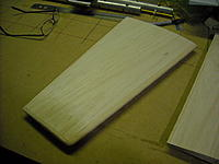 Name: DSCN0369.JPG Views: 37 Size: 228.4 KB Description: Sanded horizontal stab halves with shaped leading edges. These came out better looking than the original ones made of Byro foam.