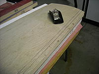 """Name: DSCN0392.JPG Views: 45 Size: 227.5 KB Description: Here's the wing sheeted with 1/64"""" ply. Sanding the overlap around the foam wing was difficult. This small Stanley plane made the job easy and fast"""