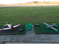 Name: DSCF1436.jpg Views: 267 Size: 225.4 KB Description: 0600: Dawn Patrol in the Mojave Desert...The markers in the background are for the Driving Range and come in handy for judging how far out my models are!