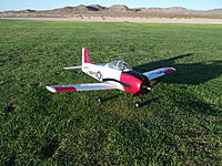 Name: DSCF1442.jpg Views: 236 Size: 324.5 KB Description: The Trojan looking awesome in the early morning sun! Notice the 2-bladed prop on the Trojan; I went back to it for testing purposes....now I'm back to the Corsair 3-blader for good!