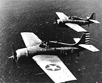 """Name: USS_Lexington_Wildcats_April_1942.jpg Views: 239 Size: 109.0 KB Description: LCDR John Thatch and LT Edward """"Butch"""" O'Hare during a publicity photo flight - April, 1942 (Photo courtesy of Wikipedia)"""