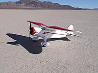 Name: DSCF2810-1.jpg Views: 225 Size: 232.6 KB Description: Now down at the dry lakebed, after flying a couple of 2200s through her; looking good in the desert sun...