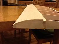 Name: 038.jpg Views: 226 Size: 220.3 KB Description: I need to sand down the spars, sheeting and leading edge to be flush with the rib. Without breaking this time.