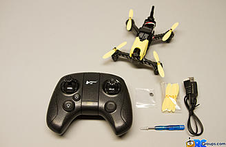 The Hubsan X4 Storm comes with extra props, USB charge cable, and a prop installation tool kit (screwdriver)