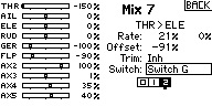"""Name: MIX7 SAFE ON with normal MIX pst 2 LO THR.jpg Views: 33 Size: 13.3 KB Description: SAFE ON, NORMAL mix for LOW THR range. Box """"2"""" is darkened with Switch """"G"""" in position """"2"""". MIX is active and SAFE is ON b/c position """"2's"""" value is +100% with switch in position """"2""""."""