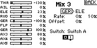 Name: Incorrect GER ELE mix.jpg Views: 10 Size: 10.7 KB Description: This seem correct but the GER Ch (Ch5) is used for stab mode control. Since this pic was taken, I've changed the LOW THR TRAVEL to -105%. I started at -100% to match the ESC low setting. But I wanted a little dead zone prior to engaging the THR.