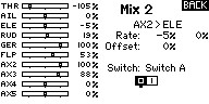 """Name: GER ELE mix with AUX2 Pos0.jpg Views: 10 Size: 10.6 KB Description: I am using AUX2 for the Gear Ch. It's activated with SwA. In position """"0"""" the mix is -5% for UP ELE. See the RATE value on the menu. On the left side monitor it is at -5% also."""