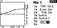 """Name: THR ELE mix SwC pos2.jpg Views: 8 Size: 7.4 KB Description: THR > ELE mix to get UP ELE as you increase the throttle. The Switch is """"C"""". If you had the switch to """"ON"""" it would always climb with a given amount of throttle."""
