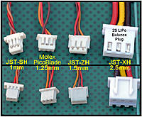 Name: jj604s 4 JST  Plugs.jpg Views: 88 Size: 294.8 KB Description: The JST-XH on the right is the most common balance connector found in the RC Hobby. It shares a 2.5mm pin spacing with common servo connectors too.