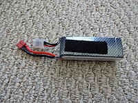 Name: DSC01024.jpg Views: 86 Size: 1,020.1 KB Description: My 1800mAh 3S LiPo rated at 25C. It weighs 163.3g and is also used to review the plane in addition to the supplied battery.