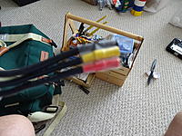 Name: DSC01100.jpg Views: 79 Size: 1.07 MB Description: I had to tape the wires together IOT to get them back forward to the front so I could connect them to the motor wires. It's so tight a fit, 1 wire kept binding on something when trying to get them forward.