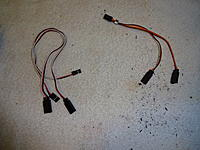 Name: DSC01140.jpg Views: 39 Size: 826.9 KB Description: The 2 replacement servo leads on the left. The Y-harness being removed on the right.