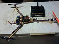 Name: 2012-10-08 Tricopter.jpg Views: 213 Size: 78.5 KB Description: My first tricopter, heavily inspired and influenced by hallstudio with help from rcexplorer.