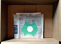 Name: Flyer-Build Fig. 7 -- 740.jpg Views: 15 Size: 1.14 MB Description: Fig. 7. Foam board with painter's masking tape and newspaper  covering everything but the circular area to be painted.