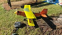 Name: 20140623_095750.jpg Views: 59 Size: 1.23 MB Description: Maidened, flies quite OK. AOA of top wing critical. AUW 2.1kg, 4s 50A 14x6prop