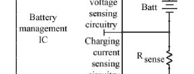 <b>Figure 4</b> - The basic layout of a smart-charging battery management IC, which has circuitry to monitor the battery terminal voltage and charging current, the latter via a sensing resistor (usually less than 1Ohm).