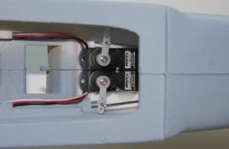 The servos for rudder and elevator were installed with control rods attached.