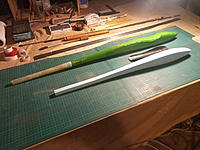 """Name: IMG_20210612_193153_5.jpg Views: 18 Size: 4.87 MB Description: Have started a Jesteresque 60"""" twisty, using the lost foam method.  Pre made a carbon canopy, cut to shape then  recessed the foam plug. Will do the layup and put canopy on before taping everything up, should leave a nice recess if all goes to plan"""