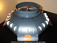 Name: coandauav1.jpg Views: 134 Size: 52.9 KB Description: Naudins saucer with the stabilizers tilted. He has Red and Yellow blocks painted on front and back control surfaces to indicate front-end and rear-end .