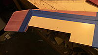 Name: IMG_0048.JPG Views: 63 Size: 552.1 KB Description: I use a template for the aileron. Once cut I flip it over for the other side. This locates it in the same place and makes it the exact same size.