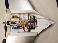 Name: IMAG0409.jpg Views: 6 Size: 836.8 KB Description: All the electronics are permanently mounted. I had to pust the battery this far back to get it to balance. Originally I planned to have it turned the other way and pushed up in the nose. I was supprised at how nose heavy it turned out to be.
