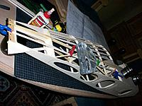 Name: 100_4560.JPG Views: 12 Size: 216.8 KB Description: lots of stringers ensure shape and torsional rigidity. My non-standard rudder hinges are also glued in place at this stage