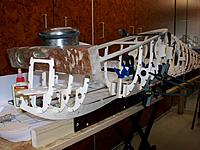 Name: 100_5077c.JPG Views: 23 Size: 217.8 KB Description: Initial nose frame aligned and square with the main and tail sections. Gearbox glued to spread the landing loads along multiple frames.