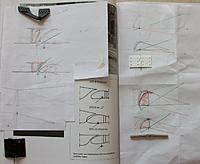 Name: 100_5140c.jpg Views: 40 Size: 415.0 KB Description: Figuring-out a practical way to produce such ailerons, using drawings with different hinge types and hinge points compared to data from an illustration of a period SZD8 glider from the same manufacturer (which also seemed to experiment a lot on that)