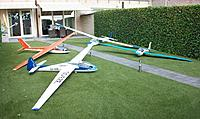 Name: 100_5190c.jpg Views: 38 Size: 816.3 KB Description: The Bocian in pole position surrounded by the other Sabena decorated gliders of my collection
