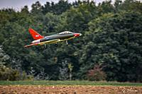 Name: A3 17 oktober 2020-3-watermerk.jpg Views: 14 Size: 824.8 KB Description: My QF100F model coming in for landing after its second trial flight mid October 2020 at TMV Tongeren