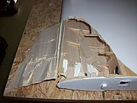 Name: 100_5295.JPG Views: 29 Size: 514.2 KB Description: After opening the wing root the damage could be fully assessed and even more important, the furrow checked in its strong plywood main spar structure.