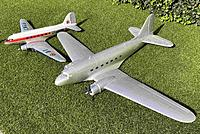 """Name: IMG_0062crr.jpg Views: 223 Size: 655.4 KB Description: To the left my old Dynam Skybus, to the right the ZD DC3 """"rosinenbomber"""" as acquired second hand september 2020. Size difference was much more obvious than anticipated by reading just the numbers of the wingspans."""