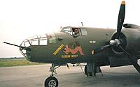 Name: B25 hero 1.jpg Views: 103 Size: 82.0 KB Description: Yeah, I felt king of the air in that left seat. During our spirited display we went to 120° of bank with that bomber