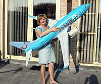 Name: ready for maiden_7.jpg Views: 133 Size: 207.5 KB Description: It ain't heavy, but is big and delicate to move around. The flimsy winglets and horizontal stabilizers are very vulnerable and are only assembled at the very last moment.
