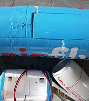 Name: crash 15apr2015_9.jpg Views: 101 Size: 95.3 KB Description: Serious compression marks close to the cracks show the serious forces that were encountered during the near vertical impact. The nacelle also was compressed at its bottom and side