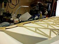 """Name: wing job_7.jpg Views: 45 Size: 135.1 KB Description: After removal of the bottom Oratex, traces of filler in one of the deep """"valleys"""" proved the trailing edge problem originated during construction, before covering. No way that I would show up at an event with a model with such a distorted traili"""