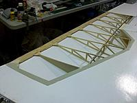 Name: wing job_16.jpg Views: 43 Size: 117.0 KB Description: After allowing the PU wood glue to settle for 24 hours the clamps were removed and showed a perfectly straight wing. After painting  the wings, the clamps went on again for a few weeks to alleviate the stress on the would during the final curing