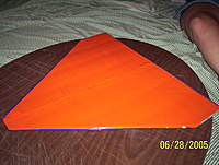 Name: delta top.jpg Views: 99 Size: 129.5 KB Description: The top Covered in Orange. they meet in the middle of the two Blue foam pieces.
