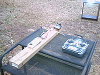 Name: testing motor.jpg Views: 104 Size: 61.0 KB Description: another of test stand. see table in background? thats got my light on it for checking rpm it was cloudy out
