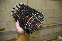 """Name: DSC_0018-2.jpg Views: 147 Size: 150.7 KB Description: 48 staggered paddle blades, each held by 4 """"U"""" bolts, 8, 00-90 brass hex nuts and 2 backing plates. Paddlewheel powered through pitman arm connected to piston over crossheads as on full sized Preston. No reduction. 5/8"""" bore x 2 1/4 stroke"""