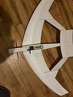 Name: 20181216_194840.jpg Views: 40 Size: 916.7 KB Description: Plan view. The fuse was glued in place on wing (center under it is flat). After that, the steps were glued to the fwd half of wing.  I didn't use a spar or drywall tape between the layers, so flexy, but so far strong enough.