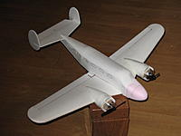 Name: b18 complete 001.jpg Views: 383 Size: 75.8 KB Description: Looks a bit plain, so tomorrow will be the paint. You may notice the nose looks pink, It's carved pink OC foam, as the original exploded on a unintended landing...