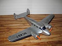 Name: b18 silver 009.jpg Views: 614 Size: 96.6 KB Description: #5 OneSheetTwin - Beech model 18, with differential motor control instead of functional rudders (those twin tails are awfully tiny!)