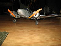 """Name: 11-10-11 018.jpg Views: 441 Size: 85.5 KB Description: Another shot of the Beech with it's removeable landing gear.  Now I can fly it gear """"up or down""""  She actually ROG's better than hand launches."""