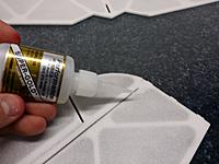 Name: 20140128_205609.jpg Views: 314 Size: 130.8 KB Description: I use BSI thin odorless CA for all of my Depron builds. It is by far the best thing i have found for builing strong light foamys.    the first time you do this i reccoment that you use wax paper under the part and always have some small pieces of paper